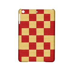 Fabric Geometric Red Gold Block Ipad Mini 2 Hardshell Cases