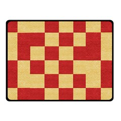 Fabric Geometric Red Gold Block Double Sided Fleece Blanket (small)  by Nexatart