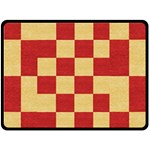 Fabric Geometric Red Gold Block Double Sided Fleece Blanket (Large)  80 x60 Blanket Front