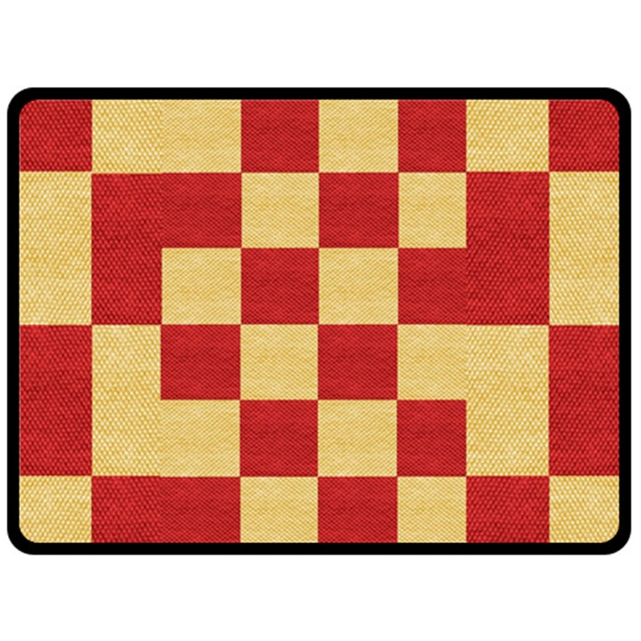Fabric Geometric Red Gold Block Double Sided Fleece Blanket (Large)