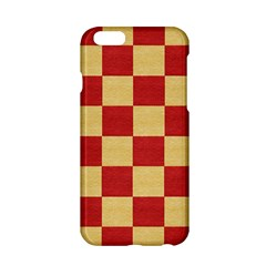 Fabric Geometric Red Gold Block Apple Iphone 6/6s Hardshell Case by Nexatart