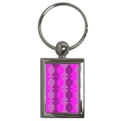 Fabric Textile Design Purple Pink Key Chains (rectangle)  by Nexatart