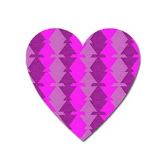 Fabric Textile Design Purple Pink Heart Magnet by Nexatart
