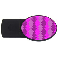 Fabric Textile Design Purple Pink Usb Flash Drive Oval (4 Gb) by Nexatart