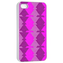 Fabric Textile Design Purple Pink Apple Iphone 4/4s Seamless Case (white) by Nexatart