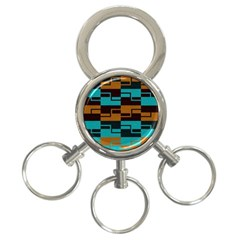 Fabric Textile Texture Gold Aqua 3 Ring Key Chains