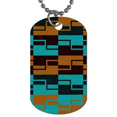 Fabric Textile Texture Gold Aqua Dog Tag (two Sides) by Nexatart