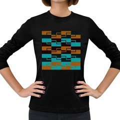 Fabric Textile Texture Gold Aqua Women s Long Sleeve Dark T-shirts by Nexatart
