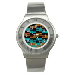 Fabric Textile Texture Gold Aqua Stainless Steel Watch by Nexatart