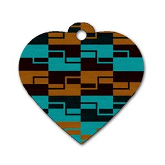 Fabric Textile Texture Gold Aqua Dog Tag Heart (one Side) by Nexatart
