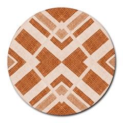 Fabric Textile Tan Beige Geometric Round Mousepads by Nexatart
