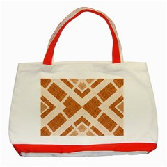 Fabric Textile Tan Beige Geometric Classic Tote Bag (red) by Nexatart