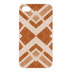 Fabric Textile Tan Beige Geometric Apple Iphone 4/4s Hardshell Case by Nexatart