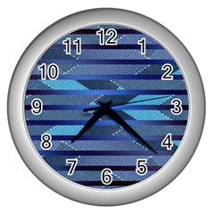 Fabric Texture Alternate Direction Wall Clocks (silver)