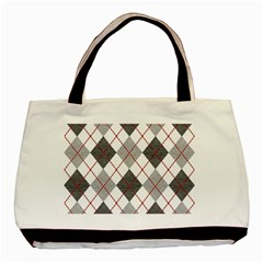 Fabric Texture Argyle Design Grey Basic Tote Bag (two Sides)