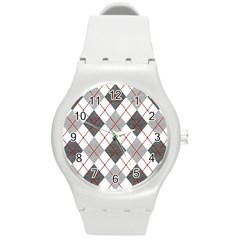 Fabric Texture Argyle Design Grey Round Plastic Sport Watch (m)