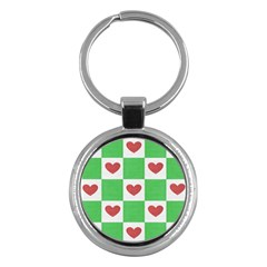 Fabric Texture Hearts Checkerboard Key Chains (round)  by Nexatart