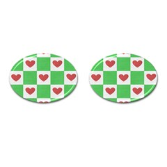Fabric Texture Hearts Checkerboard Cufflinks (oval) by Nexatart
