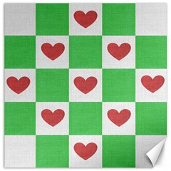 Fabric Texture Hearts Checkerboard Canvas 16  X 16   by Nexatart