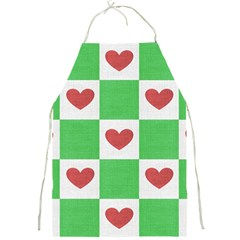 Fabric Texture Hearts Checkerboard Full Print Aprons
