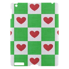 Fabric Texture Hearts Checkerboard Apple Ipad 3/4 Hardshell Case by Nexatart