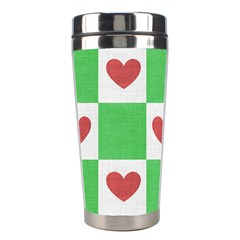 Fabric Texture Hearts Checkerboard Stainless Steel Travel Tumblers by Nexatart