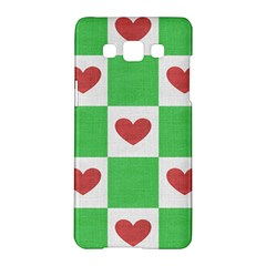Fabric Texture Hearts Checkerboard Samsung Galaxy A5 Hardshell Case  by Nexatart
