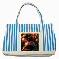 Fire Embers Flame Heat Flames Hot Striped Blue Tote Bag by Nexatart