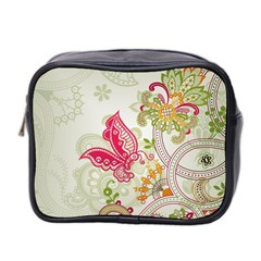 Floral Pattern Background Mini Toiletries Bag 2 Side by Nexatart