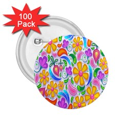 Floral Paisley Background Flower 2 25  Buttons (100 Pack)