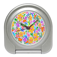 Floral Paisley Background Flower Travel Alarm Clocks by Nexatart