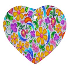 Floral Paisley Background Flower Heart Ornament (two Sides) by Nexatart