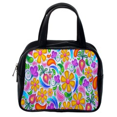 Floral Paisley Background Flower Classic Handbags (one Side) by Nexatart