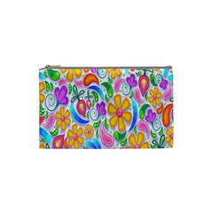 Floral Paisley Background Flower Cosmetic Bag (small)  by Nexatart