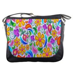 Floral Paisley Background Flower Messenger Bags by Nexatart
