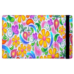 Floral Paisley Background Flower Apple Ipad 2 Flip Case by Nexatart