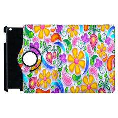 Floral Paisley Background Flower Apple Ipad 3/4 Flip 360 Case by Nexatart