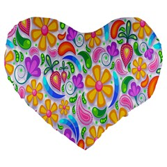 Floral Paisley Background Flower Large 19  Premium Heart Shape Cushions by Nexatart
