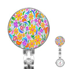 Floral Paisley Background Flower Stainless Steel Nurses Watch by Nexatart