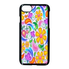 Floral Paisley Background Flower Apple Iphone 7 Seamless Case (black) by Nexatart