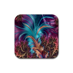 Feather Fractal Artistic Design Rubber Square Coaster (4 Pack)