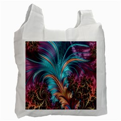 Feather Fractal Artistic Design Recycle Bag (one Side) by Nexatart