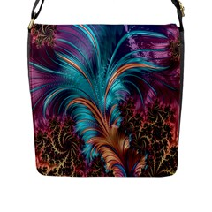 Feather Fractal Artistic Design Flap Messenger Bag (l)