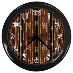Floral Strings Pattern Wall Clocks (black) by Nexatart