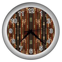 Floral Strings Pattern Wall Clocks (silver)  by Nexatart