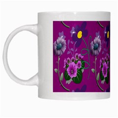 Flower Pattern White Mugs