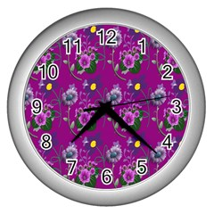 Flower Pattern Wall Clocks (silver)  by Nexatart