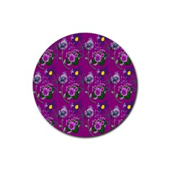 Flower Pattern Rubber Round Coaster (4 Pack)  by Nexatart