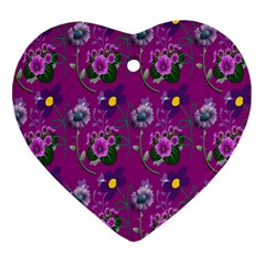Flower Pattern Heart Ornament (two Sides) by Nexatart