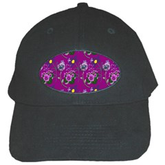 Flower Pattern Black Cap